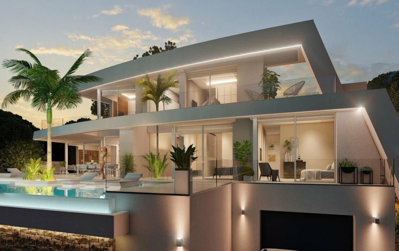 New build villa with sea view for sale in Fustera in Benissa